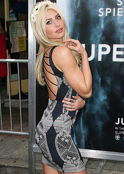 Aly Michalka gets sexy at the Super 8 premiere