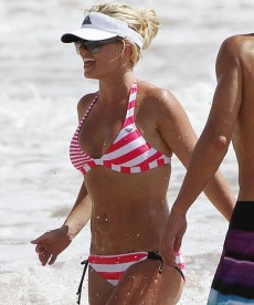 Britney Spears In Red And White Bikini