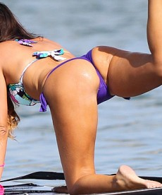 Claudia Romani Goes Paddle Boarding In A Bikini