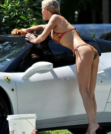 Joanna Krupa Washes A Ferrari In A Bikini