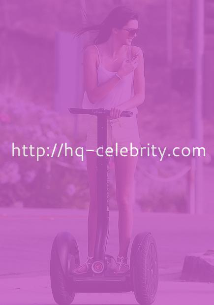Kendall Jenner rides a Segway in Malibu.