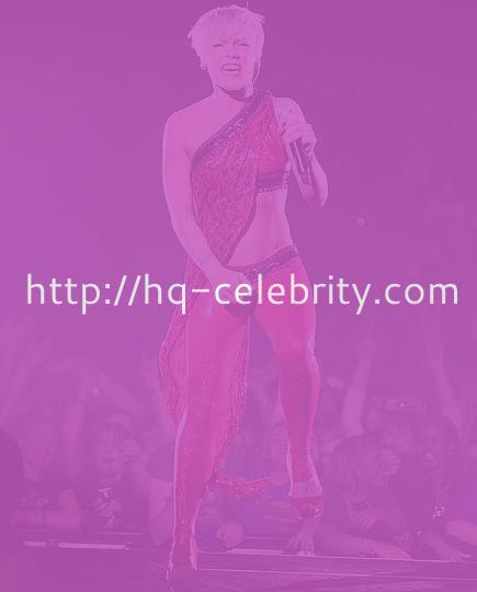 Pink in an almost Flamingo costume