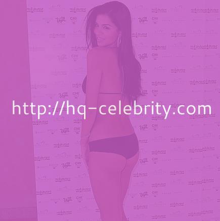 Rima Fakih in a sexy black bikini