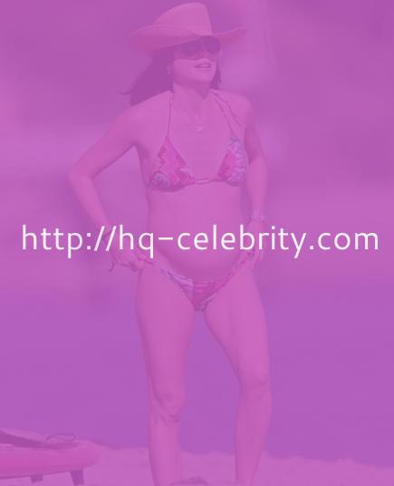 Selma Blair in bikini and cowboy hat