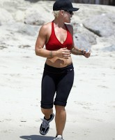 Pink jogs in Skimpy Top