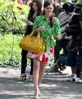 Leighton Meester on location in Gossip Girls