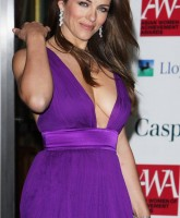 Elizabeth Hurleys sexy purple dress