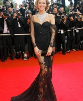 Eva Herzigovas sexy, see through Lace Gown