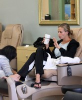 Brooke Burns relaxing in the salon