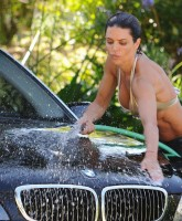 Lisa Rinna washes her car in a bikini