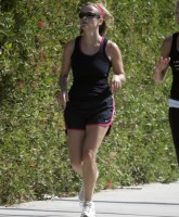 Reese Witherspoon jogging around Brentwood