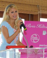 Paris Hilton promotes hair extensions