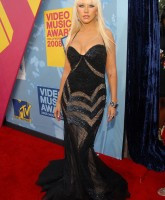 Christina Aguilera in black dress