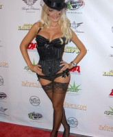 Holly Madison vamping in black