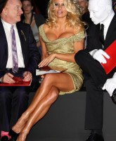 Pamela Anderson wearing gold