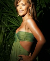 Rihanna waring green dress