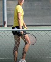 Maria Sharapova plays tennis