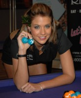Gemma Atkinson holds two balls