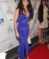 Demi Moore wearing blue dress