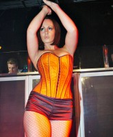 Chanelle Hayes sexy corset and fishnets